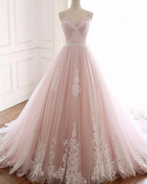 Double Spaghetti Straps Pink Ruched Applique Wedding Gown WD2267