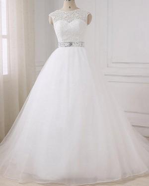 White Tulle Jewel Lace Bodice Wedding Dress with Beading Belt WD2268