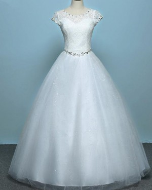 Lace Bodice Scoop Beading White Tulle Wedding Gown WD2269