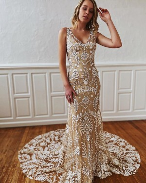 Lace Mermaid Champagne V-neck Wedding Dress WD2300