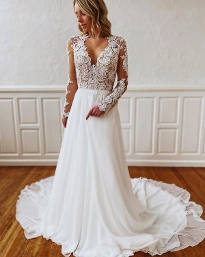 Lace Bodice White V-neck Wedding Dress with Long Sleeves WD2301