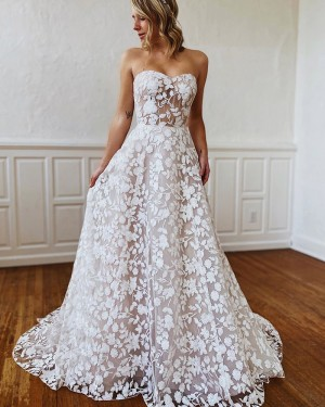 White Lace Sweetheart A-line Wedding Dress WD2303