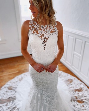 Jewel Neckline Lace Strapless Mermaid Wedding Dress WD2304