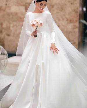 Satin White Jewel Neck Wedding Dress with Long Sleeves WD2306