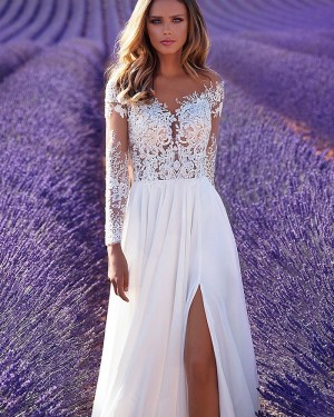 White Long Sleeve Lace Bodice A-line Wedding Dress with Side Slit WD2307