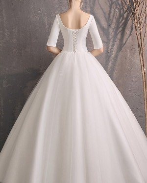 Tulle Square Neckline Wedding Dress with Half Length Sleeves WD2308