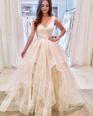 V-neck Ivory Strapless Ruffled Tulle Wedding Dress WD2309