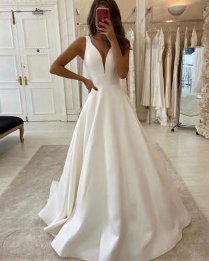V-neck White Satin Simple Wedding Dress for Fall WD2310