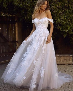 Applique Lace Off the Shoulder Wedding Dress WD2311