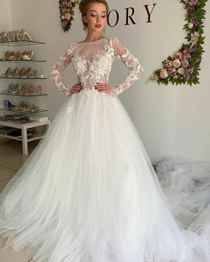 Lace Bodice Ivory Tulle Jewel Neckline Wedding Dress with Long Sleeves WD2312