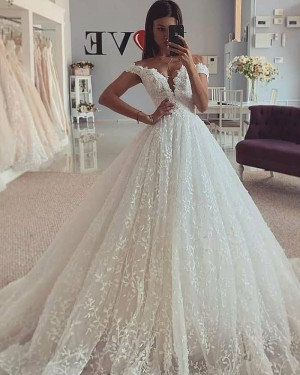 Pleated Lace Ivory Off the Shoulder Wedding Gown WD2313