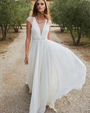 Chiffon White Deep V-neck Beach Wedding Dress with Lace Cap Sleeves WD2314