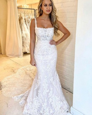 Lace Square Neckline Mermaid Wedding Dress with Chapel Train WD2316