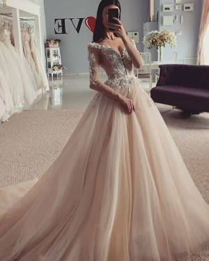 Beading Lace Bodice V-neck Champagne Pleated Wedding Gown with Long Sleeves WD2317