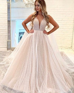 Sparkle V-neck Beading Embroidery Champagne Wedding Dress WD2318
