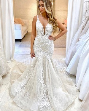 Ivory Sparkle Deep V-neck Applique Lace Mermaid Wedding Dress WD2319