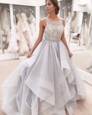 Grey Lace Sequin Bodice Scoop Ruffled Wedding Dress WD2320