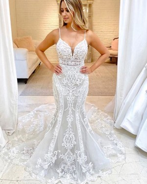 Ivory Lace Mermaid Spaghetti Straps Wedding Dress WD2322