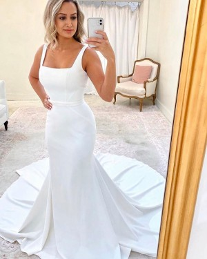 Square Neckline White Mermaid Simple Wedding Dress WD2323