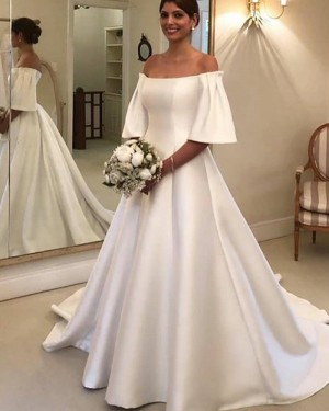 White Satin A-line Off the Shoulder Wedding Dress with Short Sleeves WD2324