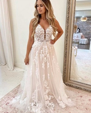Ivory Lace Applique Spaghetti Straps A-line Wedding Dress WD2325