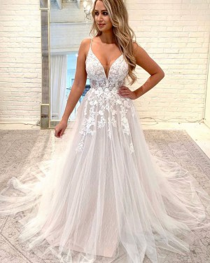 Lace Applique Sparkle Spaghetti Straps Wedding Dress WD2326