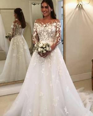 Lace Applique White Bateau Neckline Wedding Dress with Long Sleeves WD2327