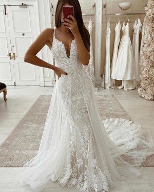 Lace Mermaid V-neck Wedding Dress with Detachable Train WD2328