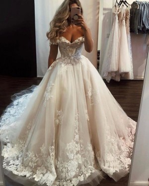 Lace Applique Tulle Ivory Off the Shoulder Wedding Dress WD2329