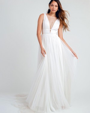 White Pleated Deep V-neck Beach Wedding Dress WD2330