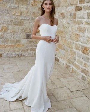 Sweetheart White Satin Simple Mermaid Wedding Dress for Fall WD2332