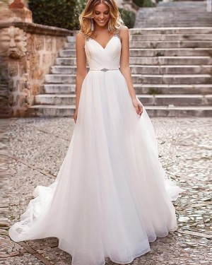 V-neck White Ruched Tulle Beading Simple Wedding Dress WD2334