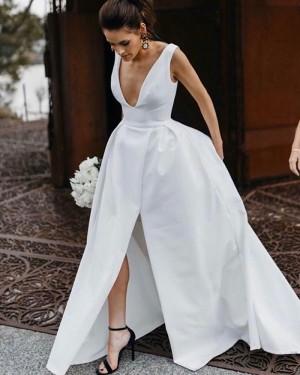 V-neck Satin White Simple Wedding Dress with Slit WD2335