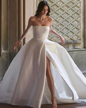 Strapless Satin White Simple Wedding Dress for Fall with Slit WD2336