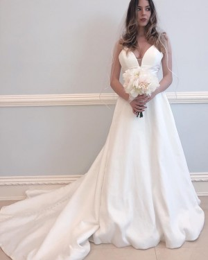 Spaghetti Straps Satin A-line Simple Wedding Dress WD2337