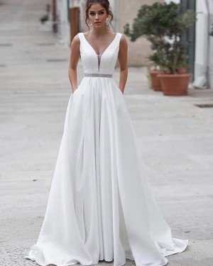 V-neck White A-line Satin Simple Wedding Dress with Pockets WD2338