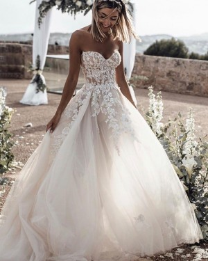 Lace Applique Tulle Sweetheart Wedding Dress WD2339