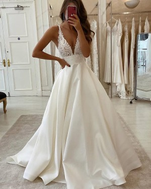 Lace Bodice White Satin V-neck Wedding Dress WD2340