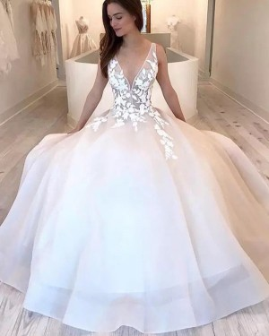 V-neck White Tulle Strapless Wedding Dress WD2342