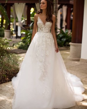 White Spaghetti Straps Lace Applique Wedding Dress WD2343