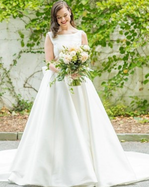 Jewel Neckline Satin Simple Wedding Dress with Bowknot for Fall WD2345