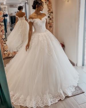 White Off the Shoulder Lace Applique Tulle A-line Wedding Dress WD2400