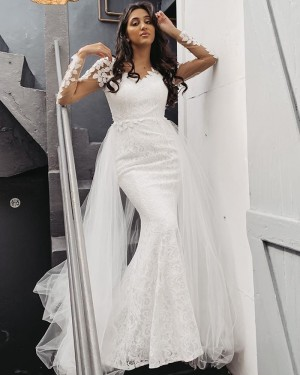 V-neck White Lace Long Sleeve Mermaid Wedding Dress with Detachable Tulle Train WD2401