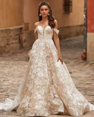 Off the Shoulder Lace Ivory A-line Vintage Wedding Dress WD2402