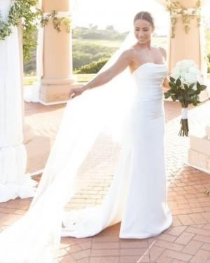 Strapless White Sheath Simple Wedding Dress for Spring WD2403