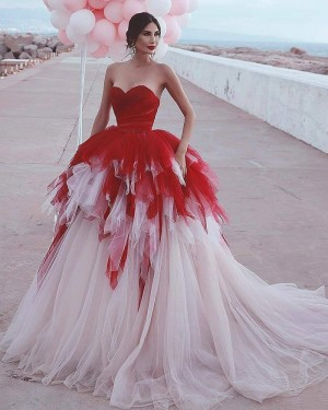 Red & Ivory Sweetheart Tulle Ruffled Wedding Dress WD2404