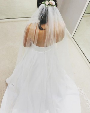 White Strapless Satin Simple Wedding Dress with Pockets WD2406
