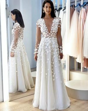 White Long Sleeve Jewel Neckline A-line Wedding Dress with Handmade Flowers WD2407