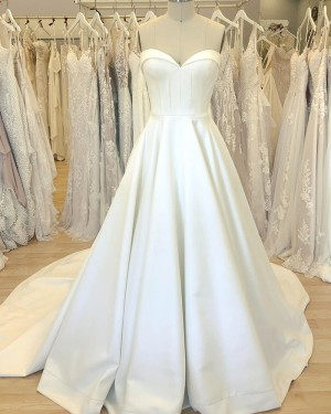 Simple Satin White Sweetheart Wedding Dress with Court Train WD2408