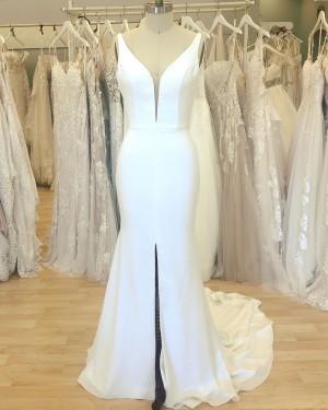 Simple V-neck Satin White Mermaid Wedding Dress with Middle Slit WD2409
